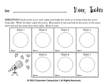 FREE Seven Day Moon Tracker for Moon Phases Unit