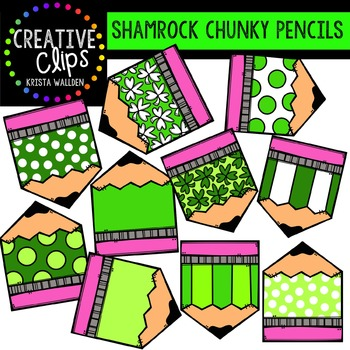 FREE Shamrock Chunky Pencils {Creative Clips Digital Clipart}
