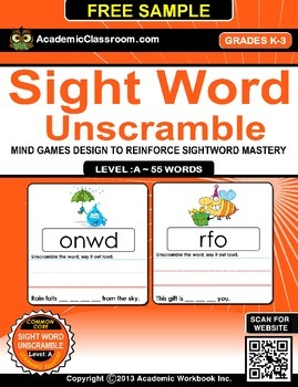 FREE Sight Word Unscramble Mind Games Level-A, 55 Words (F