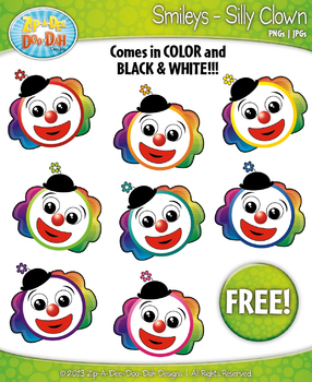 FREE Silly Clown Smiley Face Clipart Set Faces Emotions Cl