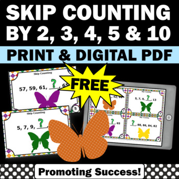 FREE Skip Counting by 2's Task Cards 1st 2nd Grade Math Ga