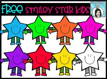 (FREE) Smiley Star Kids Clip Art Set