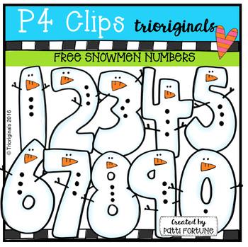 FREE Snowmen Numbers (P4 Clips Trioriginals Digital Clip Art)