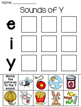 Sounds of Y Word Sort Worksheet