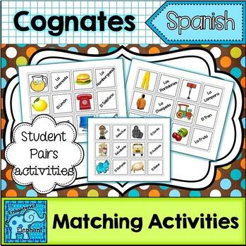 FREE Spanish Cognates Matching Activities