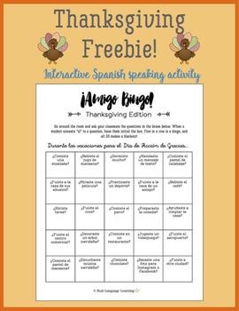 FREE Spanish speaking activity: Thanksgiving