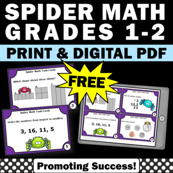 spider math task cards 1st grade games