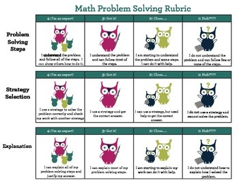 FREE Math Problem Solving Rubric and Math Frame