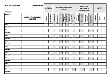 FREE Student Reading Profile for Guided Reading Groups
