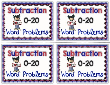 1st 2nd 3rd Grade Subtraction 0-20 Word Problem Task Card