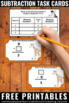 FREE Subtraction Facts Task Cards Kindergarten 1st Grade M
