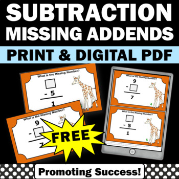Free Subtraction Task Cards