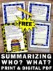 FREE Summarizing Worksheets Reading Comprehension Passages