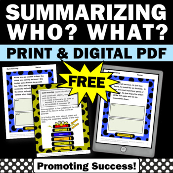free summarizing activities worksheets task cards