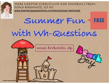 FREE Summer Fun Wh Questions for Language Practice