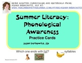 FREE Summer Phonological Awareness Practice Pack