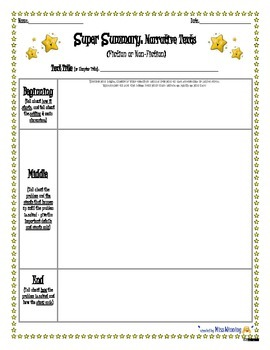 """""""Super Summary"""" Graphic Organizer for Any Narrative Text -"""