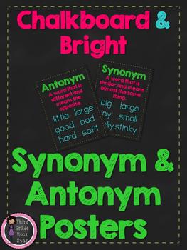 FREE Synonym & Antonym Posters {Chalkboard & Bright Theme}