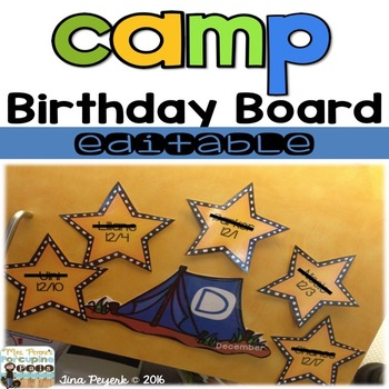 Birthday Camp Out Display Board-Editable