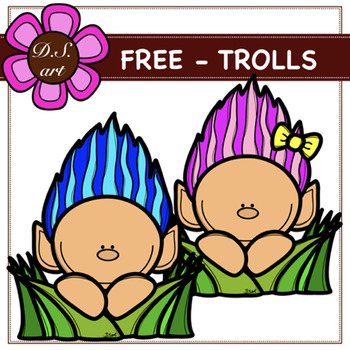 FREE - TROLLS Digital Clipart (color and black&white)