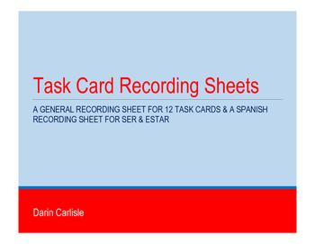 FREE Task Card Recording Sheets ~SER o ESTAR - DOCTOR or P