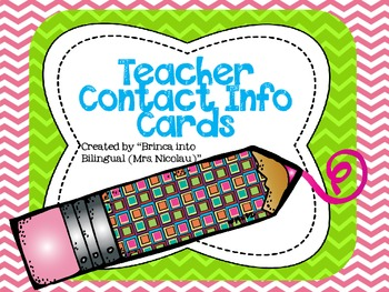 FREE Teacher Contact Info Card - EDITABLE- (English and Spanish)