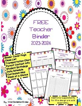 FREE Teacher Organizational Binder 2016-2017 Flower Design