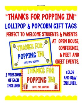 """FREE """"Thanks for POPPING in!"""" Gift Tag"""