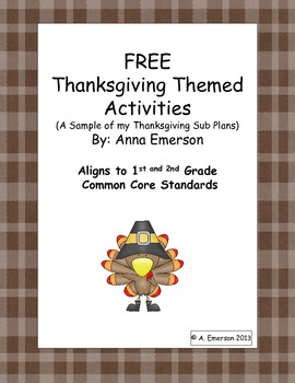 FREE Thanksgiving Activities - A sample of Emergency Sub P