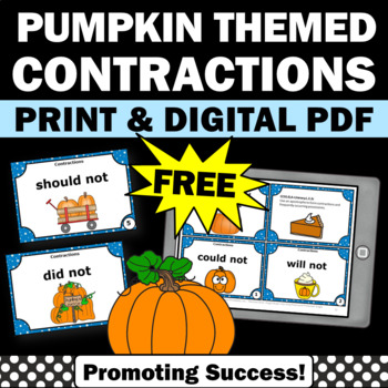 Thanksgiving ELA Grammar Contractions games activities
