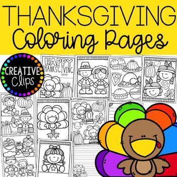 FREE Thanksgiving Coloring Book {Made by Creative Clips Clipart}