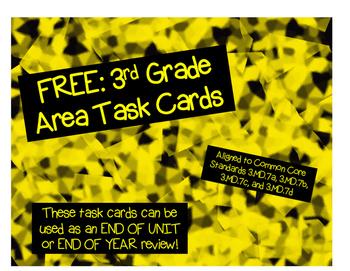 FREE: Third Grade Area Task Cards