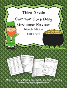 FREE Third Grade Common Core Daily Grammar Review - March Edition