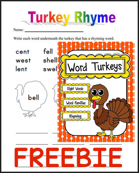 FREE - Turkey Words (Rhyming & Word Family)