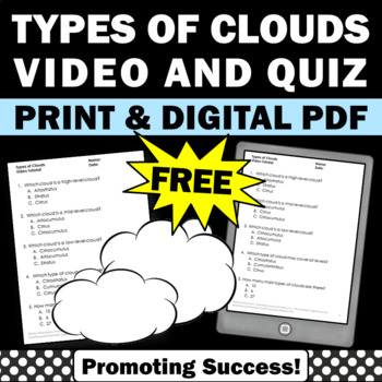FREE Types of Clouds Science Weather Unit Video Worksheet
