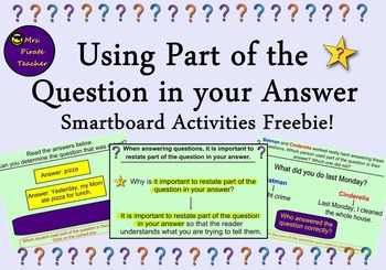 FREE Using Part of the Question in your Answer for the Sma