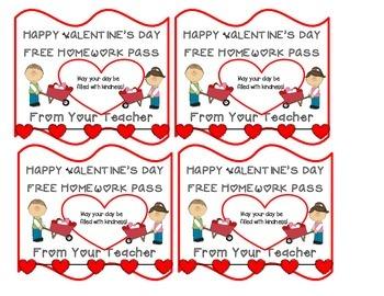 FREE VALENTINE HOMEWORK COUPONS