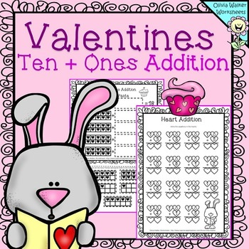 Valentines Addition  Worksheets Ten + Ones , Ten and One A