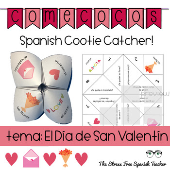 Spanish Valentine's Day Fortune Teller, Cootie Catcher, Sp