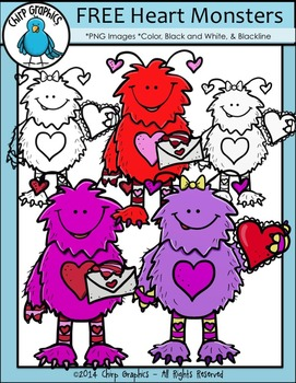 FREE Valentine's Day Heart Monster Clip Art Set - Chirp Graphics