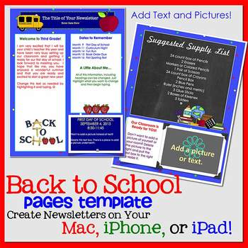 FREE!! PAGES WELCOME BACK TO SCHOOL Newsletter Template -