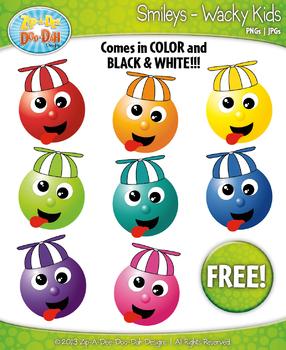 FREE Wacky Kids Smiley Clipart Set Faces Emotions Clip Art
