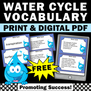 FREE Water Cycle Vocabulary Task Cards for Science Center