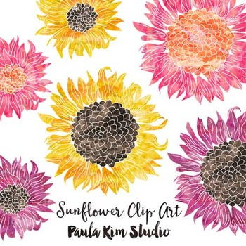 FREE Clipart Watercolor Sunflowers