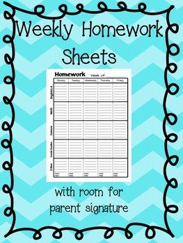 FREE - Weekly Homework Sheet: with parent sig. (Black & White)