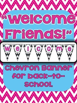 "FREE ""Welcome Friends!"" Chevron Bunting Banner"