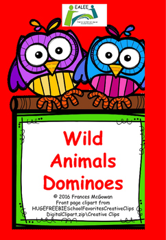 FREE Wild Animal Dominoes and wild animals picture/word ma