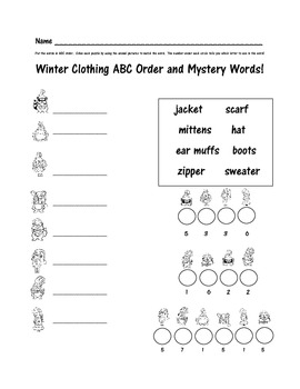 FREE Winter ABC Order Activity with Mystery Words  ( Feedb