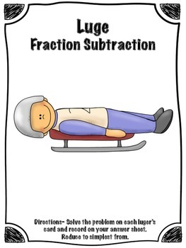 FREE Winter Sports Luge Fraction Subtraction Math Center (