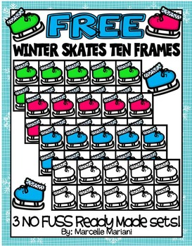 FREE Winter Skates Ten Frames-COMMERCIAL USE-COLOUR AND BL